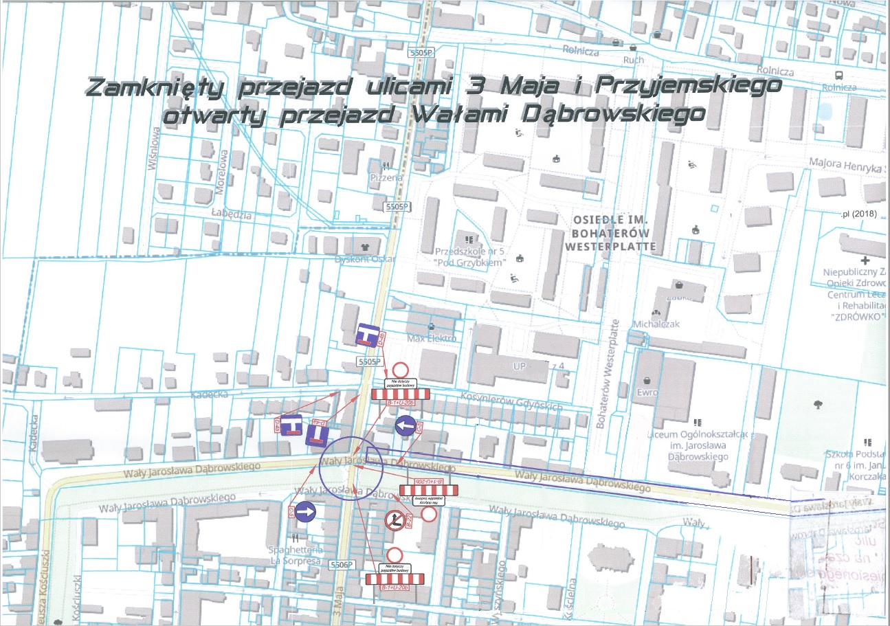 Zamknięty przejazd ul. 3 Maja i Przyjemskiego w Rawiczu