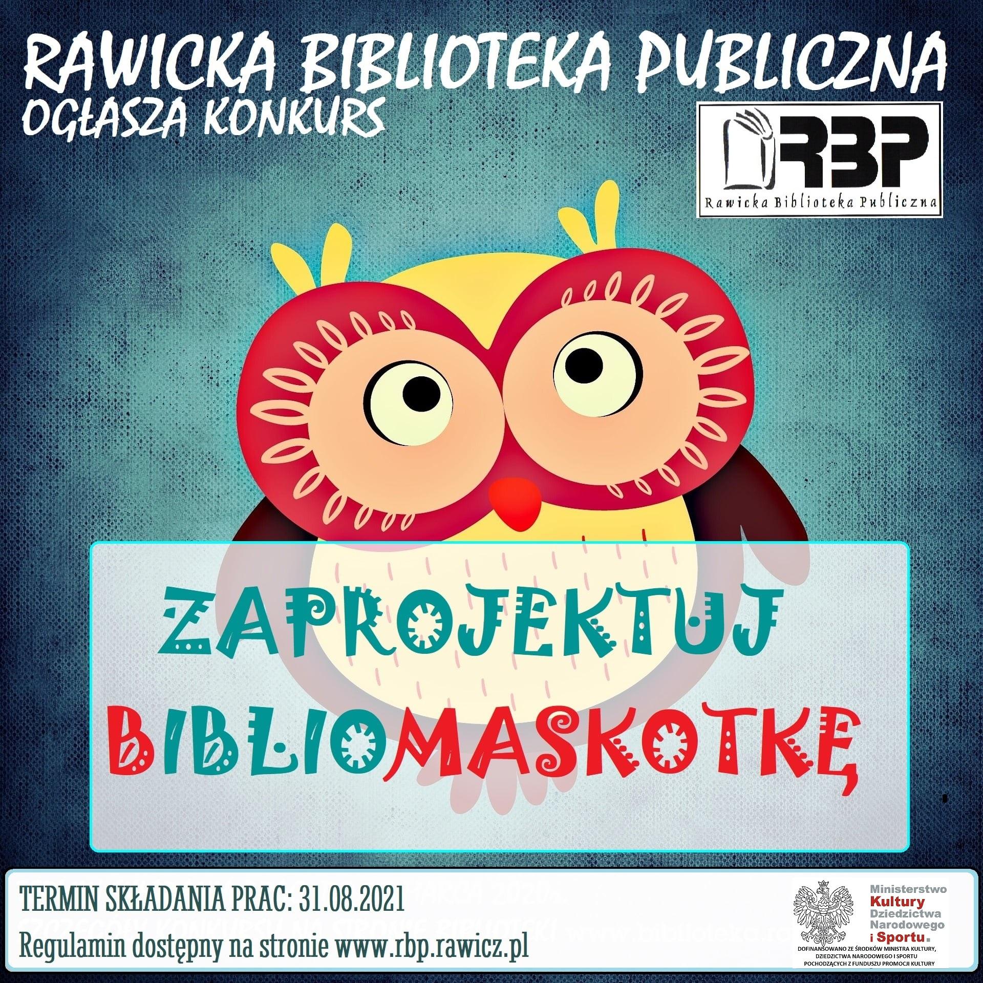 """Konkurs Rawickiej Biblioteki Publicznej: """"Zaprojektuj Bibliomaskotkę"""""""